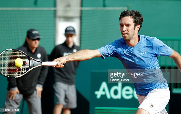 Mikhail Kukushkin of Kazakhstan in action during the match between Argentina and Kazakhstan for third day in the quarters final of the Copa Davis at...