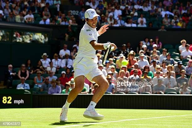 Mikhail Kukushkin of Kazakhstan in action in his Gentlemen's Singles first round match against Andy Murray of Great Britain during day two of the...