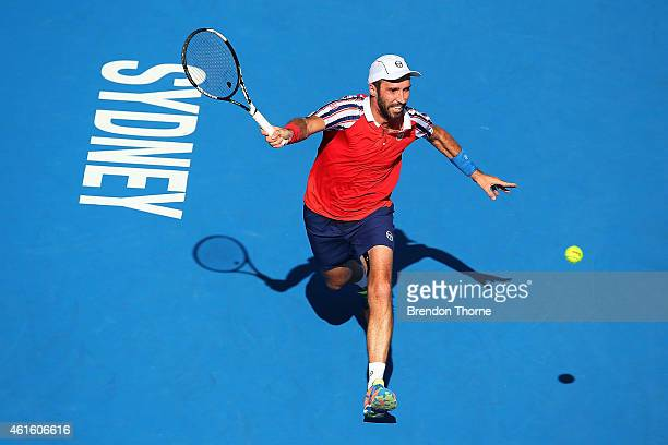 Mikhail Kukushkin of Kazakhstan plays a forehand in his semi final match against Leonardo Mayer of Argentina during day six of the 2015 Sydney...