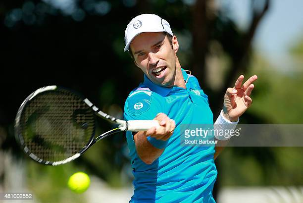 Mikhail Kukushkin of Kazakhstan plays a forehand in his singles match against Thanasi Kokkinakis of Australia during day one of the Davis Cup World...