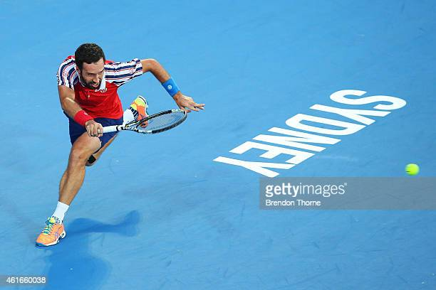 Mikhail Kukushkin of Kazakhstan plays a forehand in the Men's Singles Final match against Viktor Troicki of Serbia during day seven of the 2015...