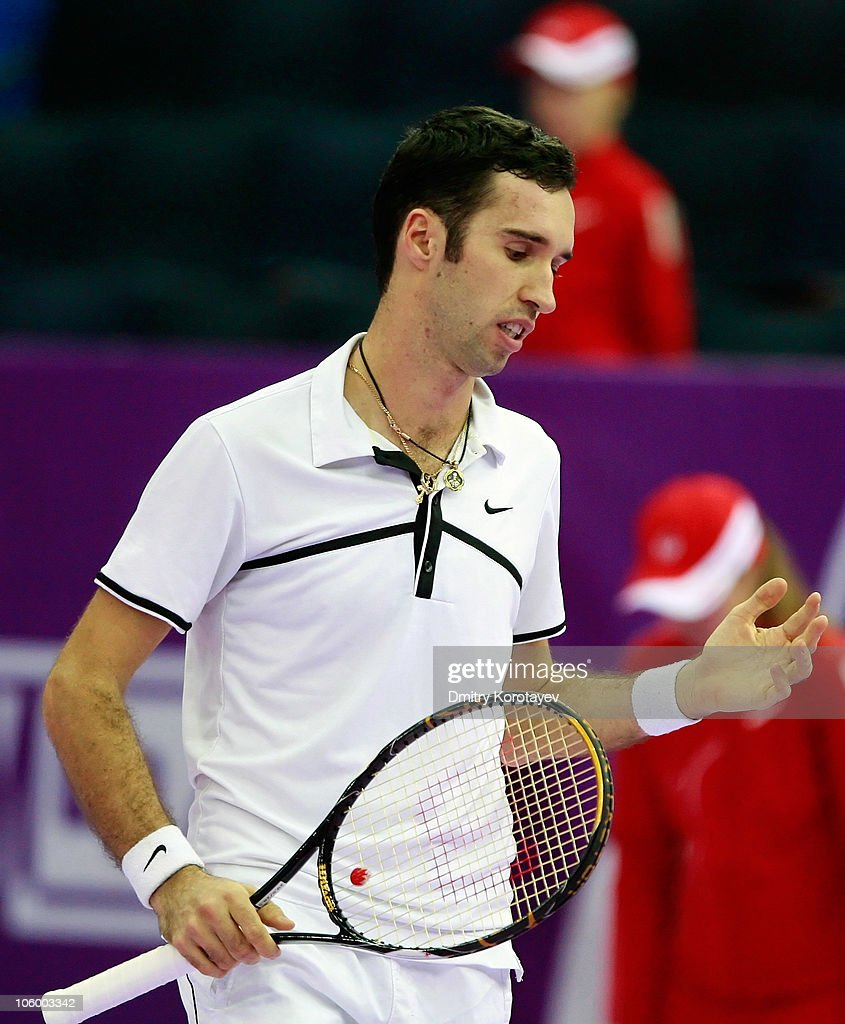 Mikhail Kukushkin of Kazakhstan reacts during day two of the International Tennis Tournamen St. Petersburg Open 2010 match against Jeremy Chardy of France at the Sports Complex Petersburgsky on October 25, 2010 in St.Petersburg, Russia.