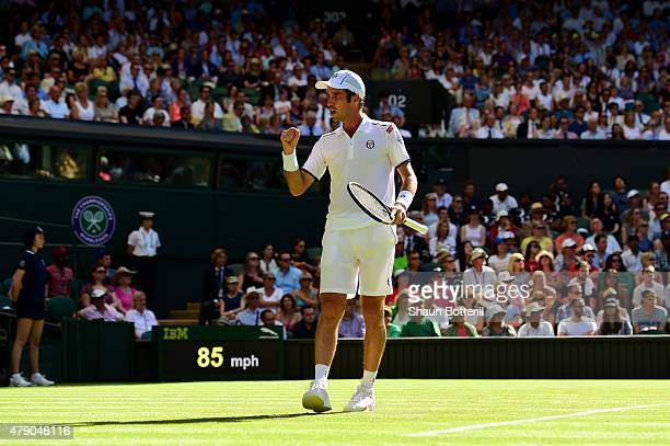 Mikhail Kukushkin of Kazakhstan reacts in his Gentlemen's Singles first round match against Andy Murray of Great Britain during day two of the...