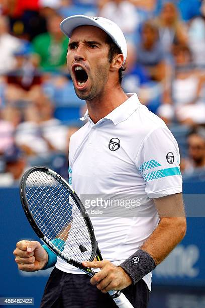 Mikhail Kukushkin of Kazakhstan reacts to a point against Marin Cilic of Croatia during their Men's Singles Third Round match on Day Five of the 2015...