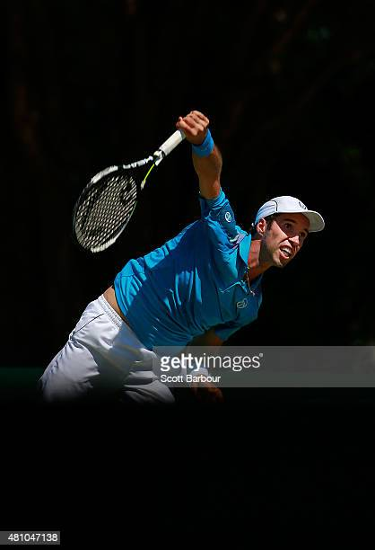 Mikhail Kukushkin of Kazakhstan serves in his singles match against Thanasi Kokkinakis of Australia during day one of the Davis Cup World Group...