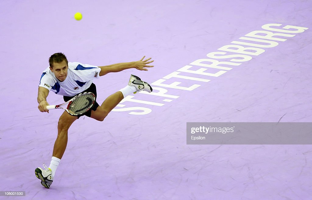 Mikhail Ledovskikh of Russia in action against Evgeny Donskoy of Russia during day two of the St. Petersburg Open 2010 at the Petersburgsky Sports Complex on October 25, 2010 in St.Petersburg, Russia.