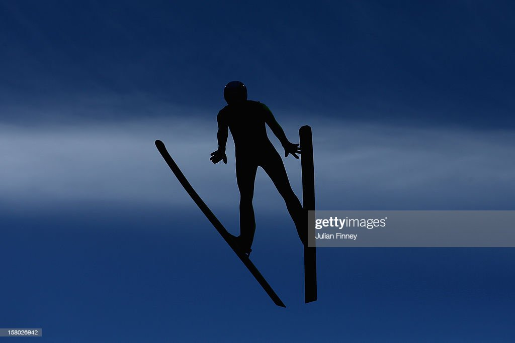 Mikhail Maksimochkin of Russia competes in a Ski Jump during the FIS Ski Jumping World Cup at the RusSki Gorki venue on December 9, 2012 in Sochi, Russia.