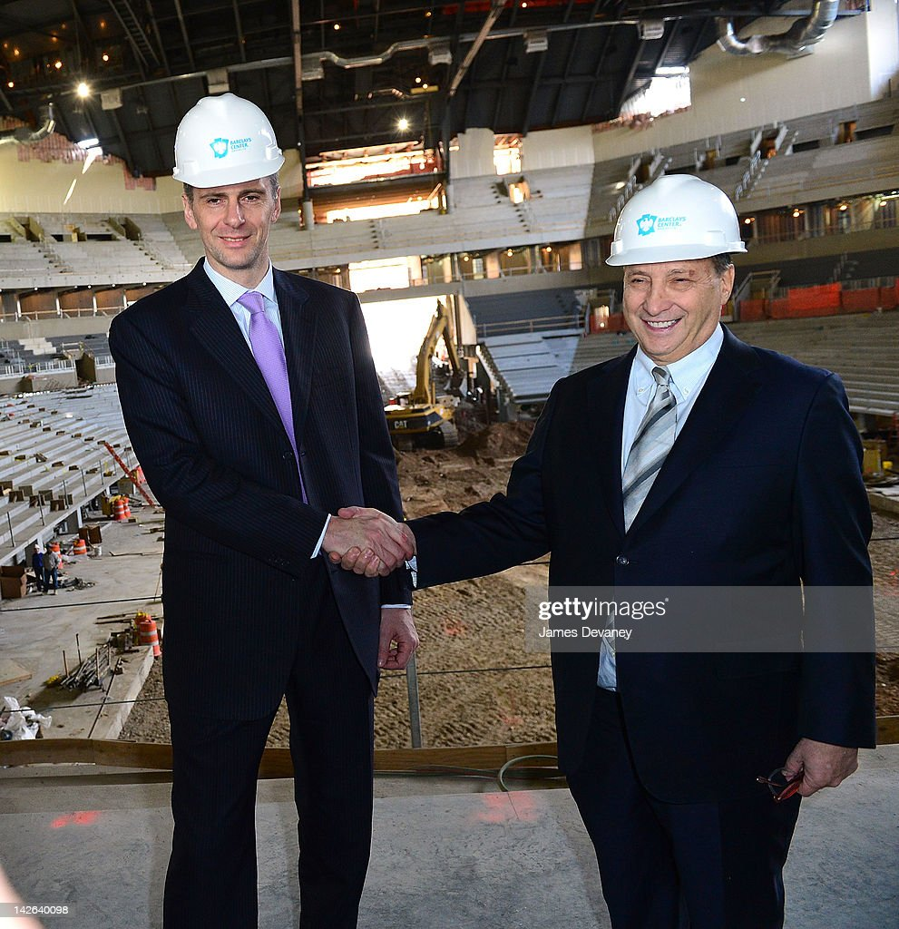 Mikhail Prokhorov and Bruce Ratner attend a New Jersey Nets press conference at the Barclays Center of Brooklyn on April 10, 2012 in New York City.