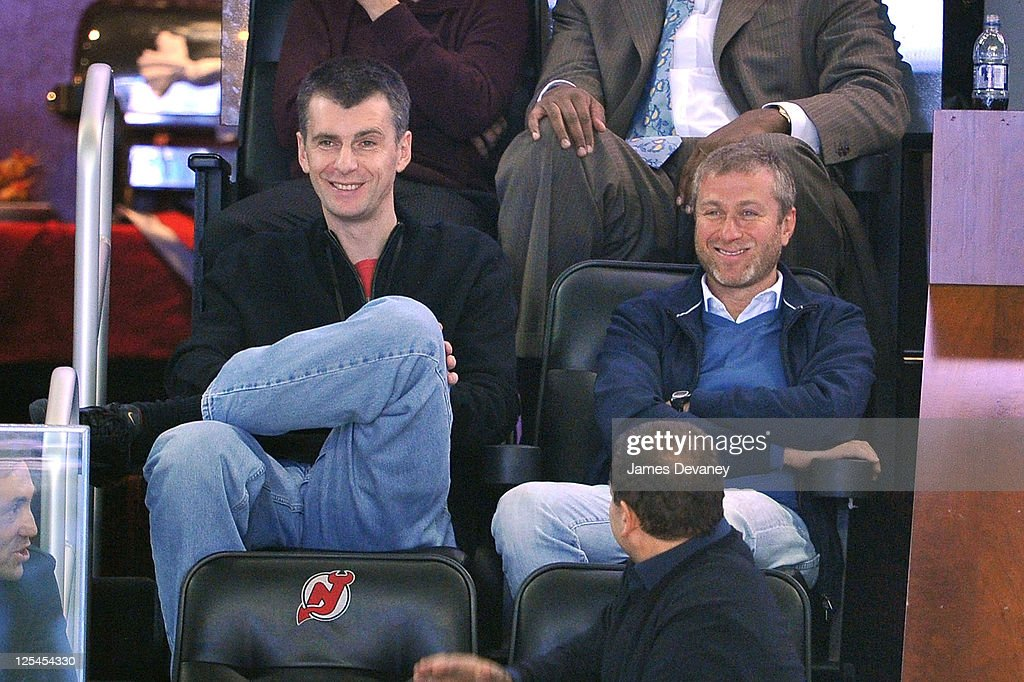 Mikhail Prokhorov and <a gi-track='captionPersonalityLinkClicked' href=/galleries/search?phrase=Roman+Abramovich&family=editorial&specificpeople=208953 ng-click='$event.stopPropagation()'>Roman Abramovich</a> attend the Miami Heat vs New Jersey Nets Game at Prudential Center on October 31, 2010 in Newark, New Jersey.