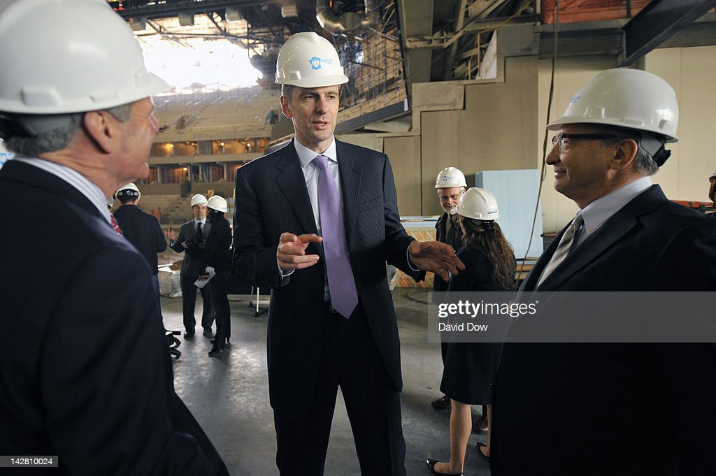 Mikhail Prokhorov, Principal Owner of the New Jersey Nets and Bruce Ratner, Barclays Center Developer and Majority Owner addresses the media at the Barclays Center on April 10, 2012 in Brooklyn, New York.