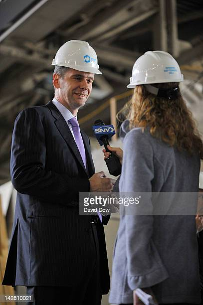 Mikhail Prokhorov Principal Owner of the New Jersey Nets speaks to the media at the Barclays Center on April 10 2012 in Brooklyn New York NOTE TO...