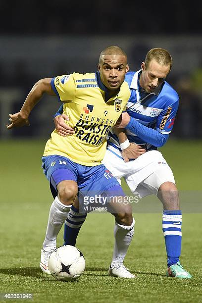 Mikhail Rosheuvel Bart van Hintum during the Dutch Cup match between SC Cambuur Leeuwarden and PEC Zwolle at the Cambuur Stadium on January 27 2015...