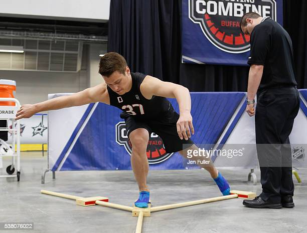 Mikhail Sergachev does the Ybalance test during the NHL Combine at HarborCenter on June 4 2016 in Buffalo New York