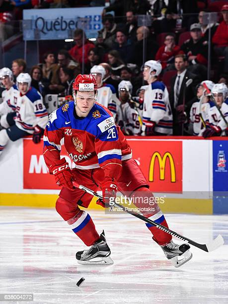 Mikhail Sergachev of Team Russia looks to play the puck during the 2017 IIHF World Junior Championship semifinal game against Team United States at...