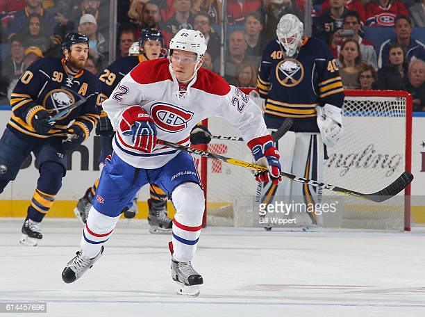 Mikhail Sergachev of the Montreal Canadiens skates against the Buffalo Sabres in an NHL game at the KeyBank Center on October 13 2016 in Buffalo New...