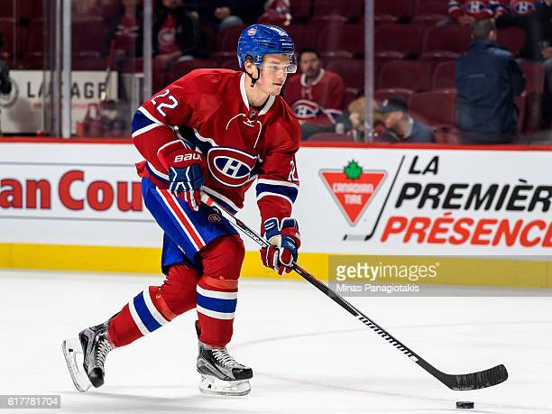 Mikhail Sergachev of the Montreal Canadiens skates the puck during the warmup prior to the NHL game against the Arizona Coyotes at the Bell Centre on...