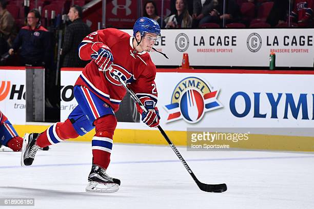 Mikhail Sergachev of the Montreal Canadiens takes a shot during the warmup prior to the NHL game against the Tampa Bay Lightning at the Bell Centre...