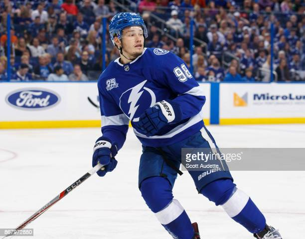 Mikhail Sergachev of the Tampa Bay Lightning skates against the Anaheim Ducks during the second period at Amalie Arena on October 28 2017 in Tampa...