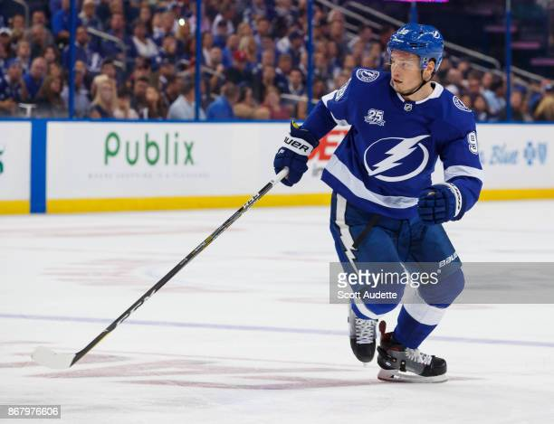 Mikhail Sergachev of the Tampa Bay Lightning skates against the Florida Panthers during the game at Amalie Arena on October 6 2017 in Tampa Florida 'n