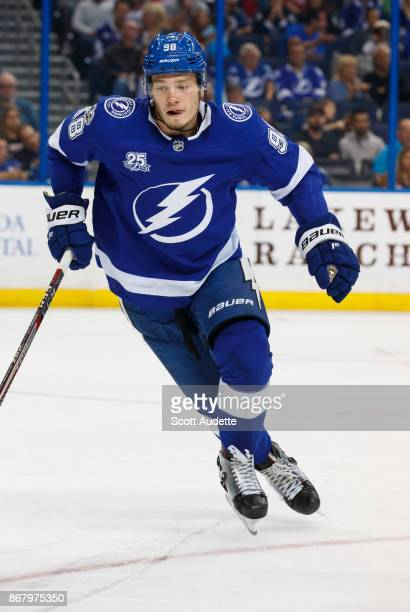 Mikhail Sergachev of the Tampa Bay Lightning skates against the Detroit Red Wings during the second period at Amalie Arena on October 26 2017 in...