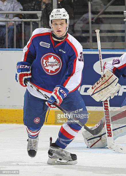 Mikhail Sergachev of the Windsor Spitfires skates against the London Knights during an OHL game at Budweiser Gardens on December 4 2015 in London...
