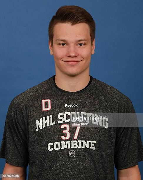 Mikhail Sergachev poses for a headshot at the 2016 NHL Combine on June 2 2016 at Harborcenter in Buffalo New York