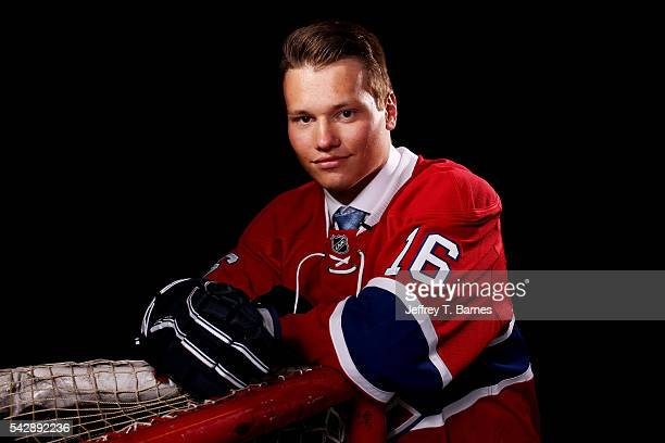 Mikhail Sergachev poses for a portrait after being selected ninth overall by the Montreal Canadiens in round one during the 2016 NHL Draft on June 24...