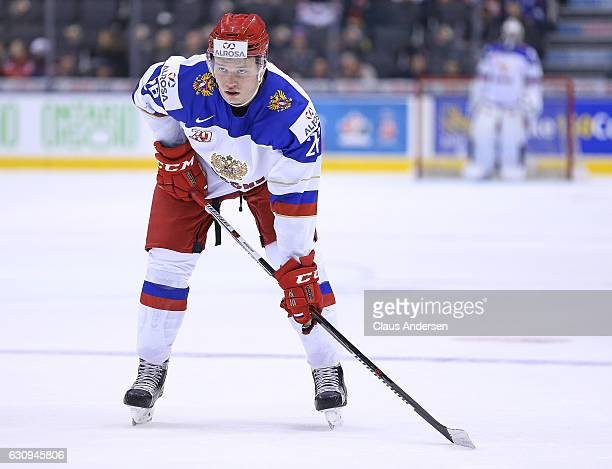 Mikhail Sergachyov of Team Russia waits for a faceoff against Team Denmark during a QuarterFinal game at the 2017 IIHF World Junior Hockey...