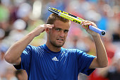 Mikhail Youzhny of Russia celebrates after a defeating Tommy Robredo of Spain during his men's singles fourth round match on day nine of the 2010 US...