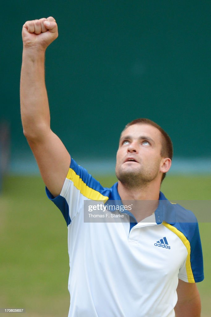 <a gi-track='captionPersonalityLinkClicked' href=/galleries/search?phrase=Mikhail+Youzhny&family=editorial&specificpeople=171709 ng-click='$event.stopPropagation()'>Mikhail Youzhny</a> of Russia celebrates after winning the half final match against Richard Gasquet of France during day six of the Gerry Weber Open at Gerry Weber Stadium on June 15, 2013 in Halle, Germany.