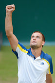 Mikhail Youzhny of Russia celebrates after winning the half final match against Richard Gasquet of France during day six of the Gerry Weber Open at...