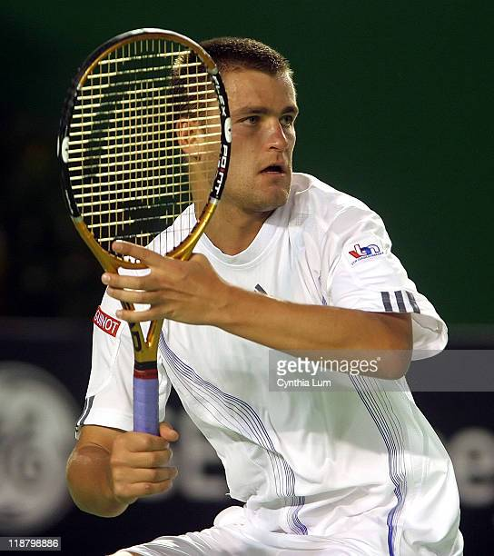 Mikhail Youzhny of Russia in action during his third round 63 63 76 loss to Switzerland's Roger Federer at the Australian Open in Melbourne Australia...