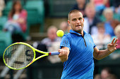 Mikhail Youzhny of Russia plays a forehand during his men's singles match against Gilles Muller of Luxembourg during day three of the ATP Aegon Open...