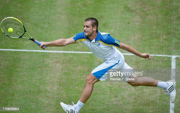 Mikhail Youzhny of Russia plays a fronthand in the half final match against Richard Gasquet of France during day six of the Gerry Weber Open at Gerry...