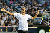 Mikhail Youzhny of Russia reacts after scoring a point against Rafael Nadal of Spain during day four of the Rogers Cup at Uniprix Stadium on August...