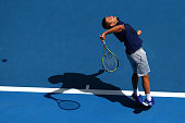 Mikhail Youzhny of Russia serves in his first round match against Rafael Nadal of Spain during day one of the 2015 Australian Open at Melbourne Park...