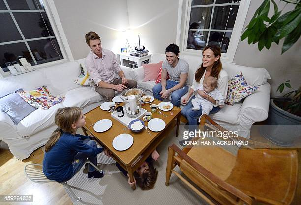 Mikhail Zuhir a Syrian refugee who came to Sweden 10 months ago is having coffee and cake after a dinner at Jenny Sigurs and her husband Urban...
