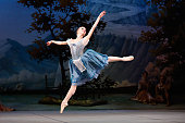 Mikhailovsky Ballet dancer performs a scene from 'Giselle' during a dress rehearsal at David H Koch Theater Lincoln Center on November 11 2014 in New...