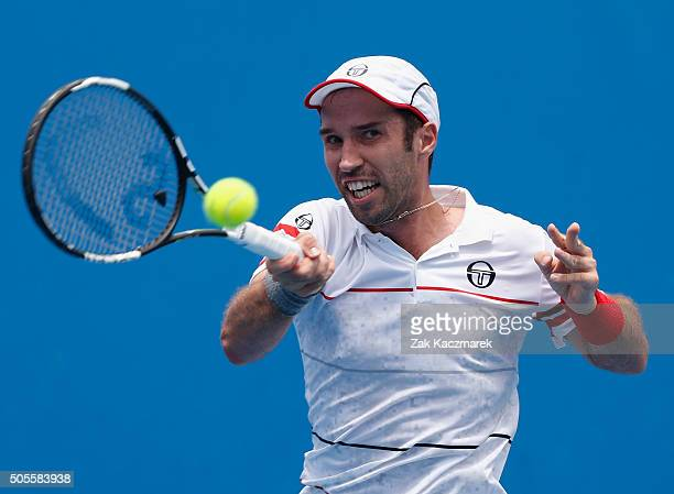 Mikhali Kukushkin of the Ukraine plays a forehand in first round match against Joao Sousa of Portugal during day two of the 2016 Australian Open at...