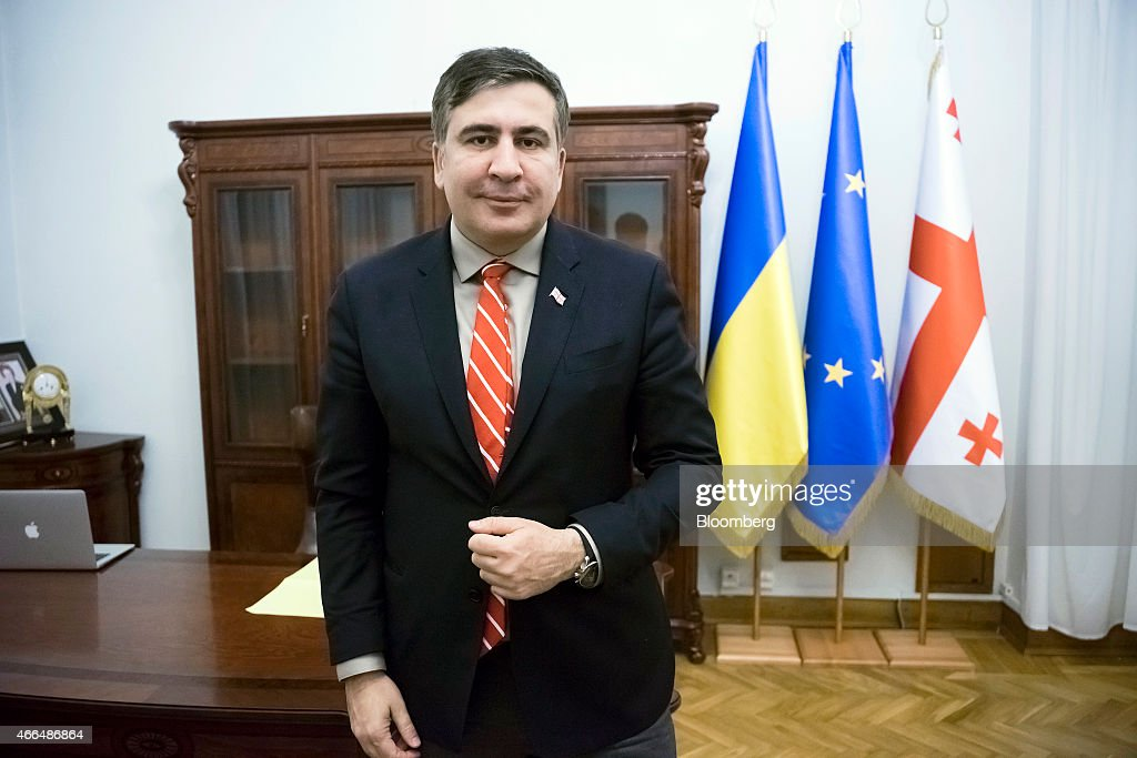 Mikheil Saakashvili, former Georgian president, poses for a photograph during an interview in Kiev, Ukraine, on Friday, March 13, 2015. Saakashvili said his efforts to persuade the U.S. administration to arm Ukraine are bearing fruit as cross-party pressure intensifies on U.S. President Barack Obama. Photographer: Vincent Mundy/Bloomberg via Getty Images