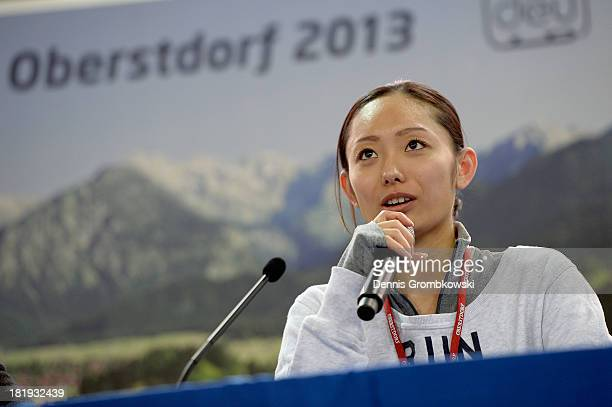 Miki Ando of Japan is interviewed during day one of the ISU Nebelhorn Trophy at Eissportzentrum Oberstdorf on September 26 2013 in Oberstdorf Germany