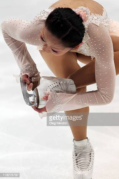 Miki Ando of Japan skates in the ladies short program during day six of the 2011 World Figure Skating Championships at Megasport Ice Rink on April 29...