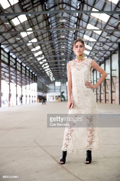 Miki Davis wearing an Ixiah dress and collar during MercedesBenz Fashion Week Resort 18 Collections at Carriageworks on May 15 2017 in Sydney...