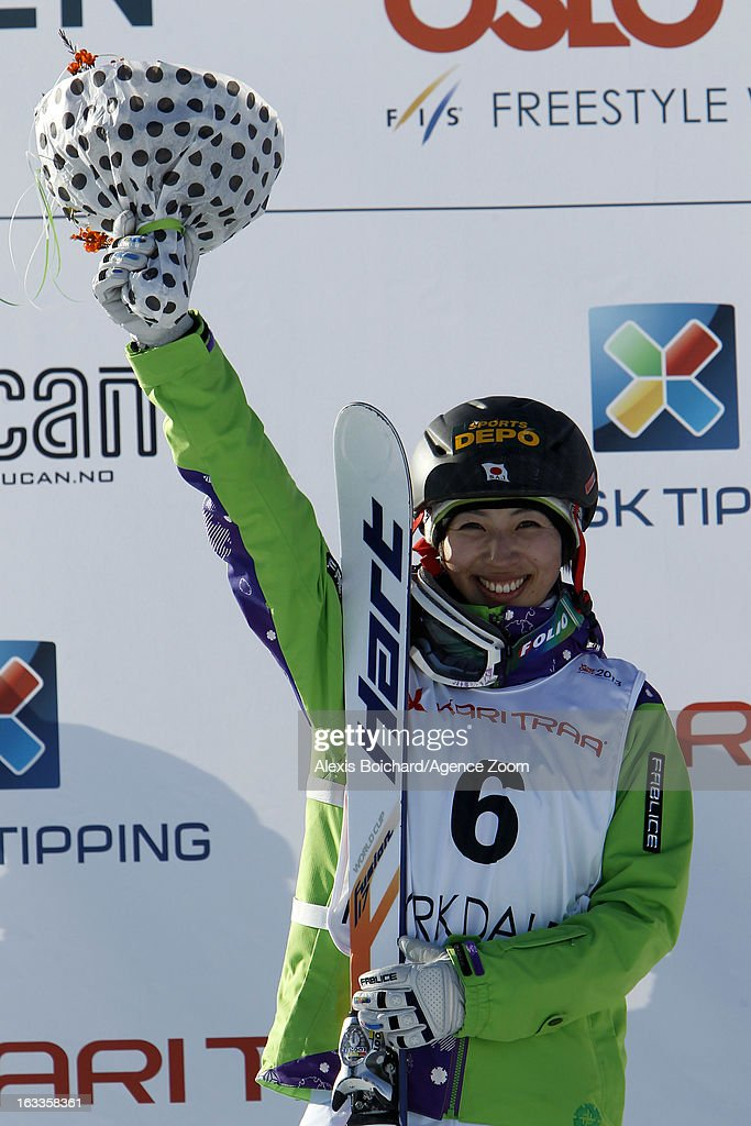 Miki Ito of Japan takes 2nd place during the FIS Freestyle Ski World Championship Men's and Women's Dual Moguls on March 08, 2013 in Voss, Norway.