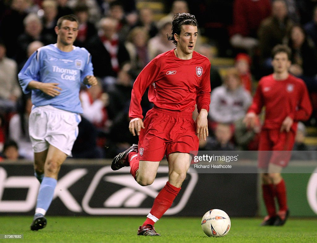 Miki Roque of Liverpool in action during the FA Youth Cup Final 1st Leg match between Liverpool and Manchester City at Anfield on April 13 2006 in...
