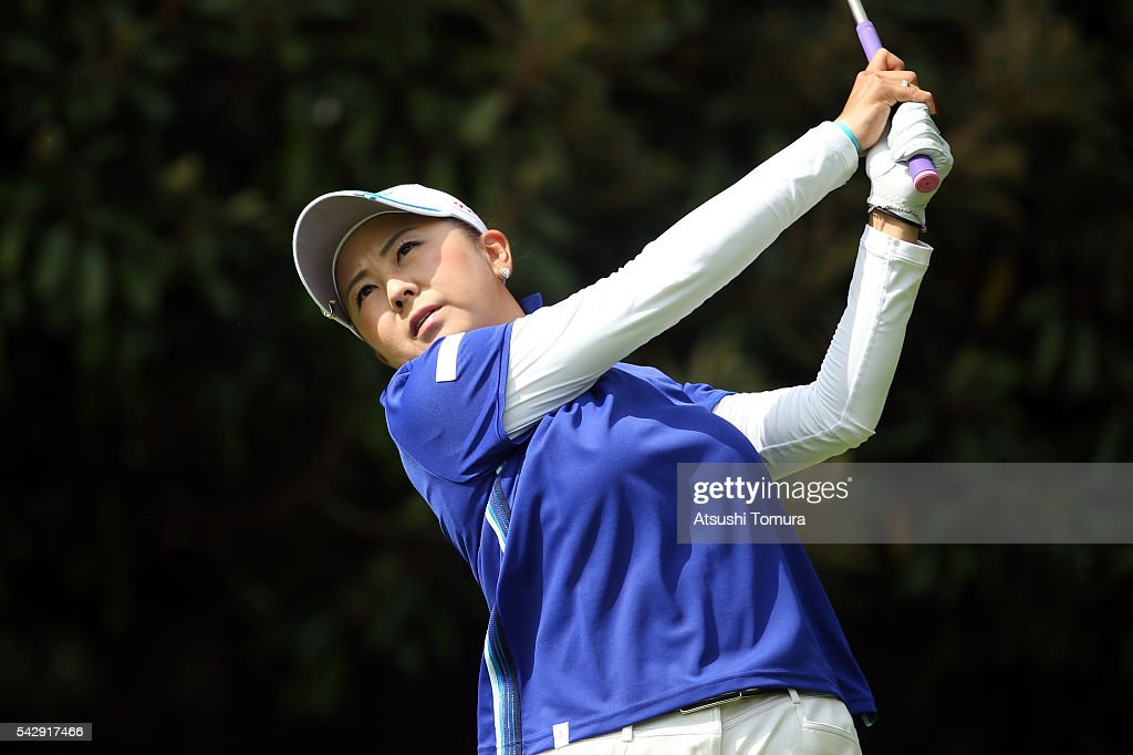 Miki Saeki of Japan hits her tee shot on the 4th hole during the third round of the Earth Mondamin Cup at the Camellia Hills Country Club on June 25, 2016 in Sodegaura, Japan.