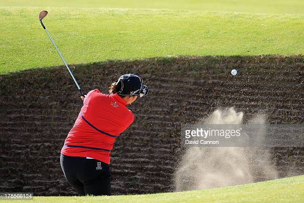 Miki Saiki of Japan hits her 2nd shot on the 11th hole during the final round of the Ricoh Women's British Open at the Old Course St Andrews on...