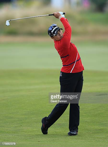 Miki Saiki of Japan hits her 2nd shot on the 2nd hole during the final round of the Ricoh Women's British Open at the Old Course St Andrews on August...