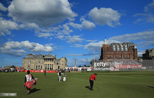 Miki Saiki of Japan hits her approach to the 18th green during the final round of the Ricoh Women's British Open at the Old Course St Andrews on...