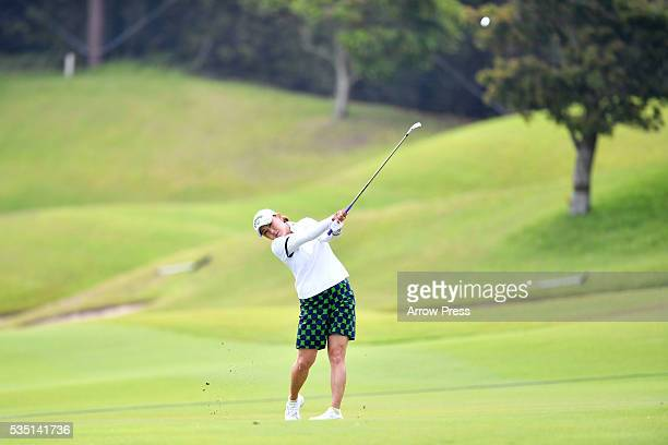 Miki Saiki of Japan hits her second shot on the 1st hole during the Final round of the Resorttrust Ladies at the Grandee Naruto Golf Club XIV on May...